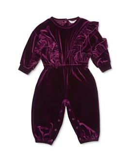 Habitual Kids - Girls' Carina Ruffled Velour Jumpsuit - Baby