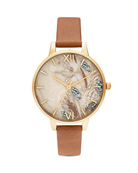 Olivia Burton - Abstract Florals Honey Tan Leather Strap Watch, 34mm
