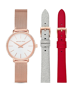Michael Kors Pyper Mesh Bracelet & Interchangeable Straps Gift Set, 32mm