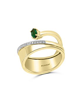 Bloomingdale's - Emerald & Diamond Bypass Ring in 14K Yellow & White Gold - 100% Exclusive