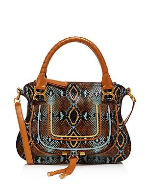 Chloe Marcie Snakeskin-Embossed Medium Satchel-Handbags