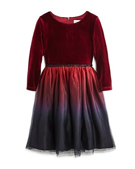 US Angels - Girls' Velvet Ombré Dress - Little Kid