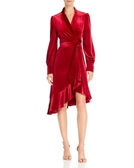 O.P.T - Latis Ruffled Velvet Wrap Dress