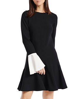 PAULE KA - Contrast Color-Cuff A-Line Dress