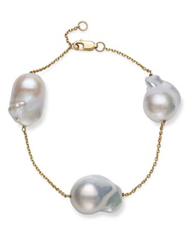 Bloomingdale's - Baroque Cultured Freshwater Pearl Station Bracelet in 14K Yellow Gold - 100% Exclusive