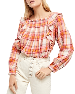 Free People Tops SIENA RUFFLED PLAID TOP