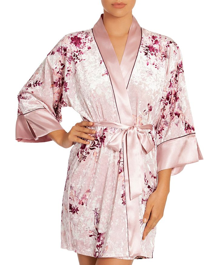 In Bloom by Jonquil - Floral Crushed Velvet Wrapper Robe