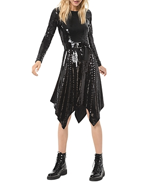 Michael Michael Kors Sequined Handkerchief Hem Dress-Women