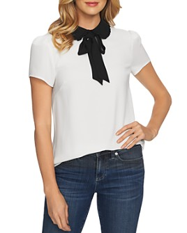 CeCe - Collared Tie-Neck Blouse