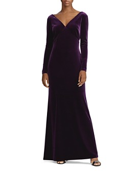 Ralph Lauren - Stretch Velvet Long Sleeve Gown