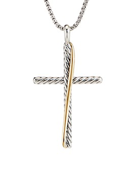 David Yurman - Sterling Silver & 18K Yellow Gold Crossover XL Cross Necklace, 18""