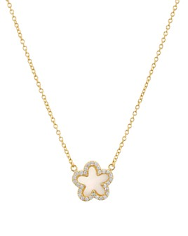 """AQUA - Flower Pendant Necklace in Gold-Plated Sterling Silver, 16""""-18"""" - 100% Exclusive"""