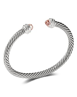 David Yurman - Sterling Silver Cable Bracelet with Morganite & Diamonds