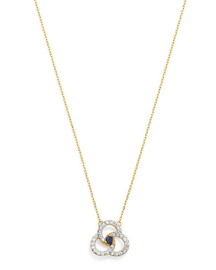 "Adina Reyter - 14K Yellow Gold Diamond & Blue Sapphire Petals Pendant Necklace, 16"""