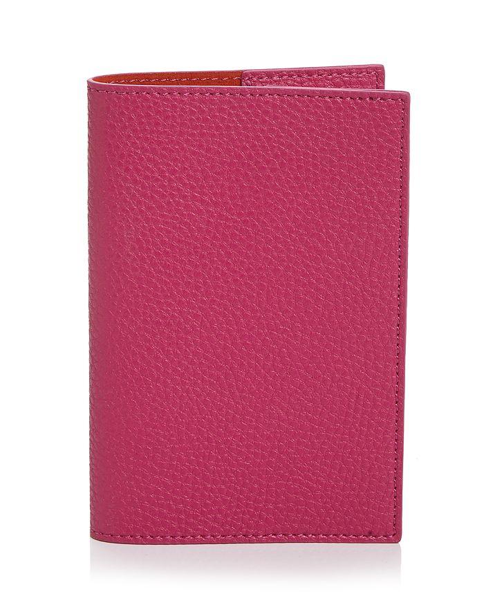 Campo Marzio Leather Passport Holder In Pink/orange