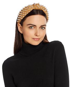 Lele Sadoughi - Embellished Faux-Leather Knot Headband
