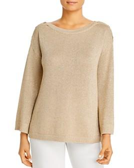 Calvin Klein - Metallic Button-Shoulder Sweater