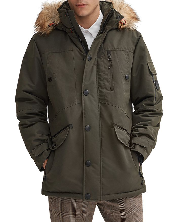 Faux Fur Trim Regular Fit Parka