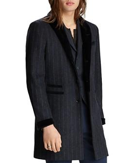 John Varvatos Collection - Velvet-Trim Pinstriped Regular Fit Coat