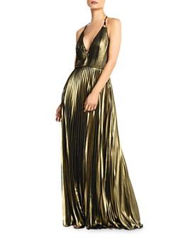 Aidan by Aidan Mattox - Pleated Metallic Chiffon Halter Dress