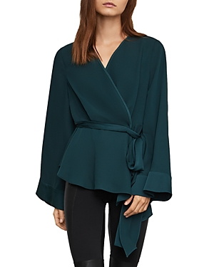 Bcbgmaxazria Tops SHAWL COLLAR BELTED TOP