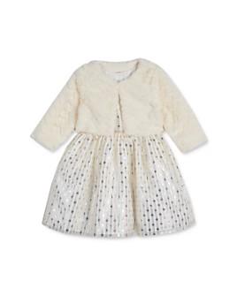 Pippa & Julie - Girls' Faux Fur Jacket & Metallic Dress Set - Baby