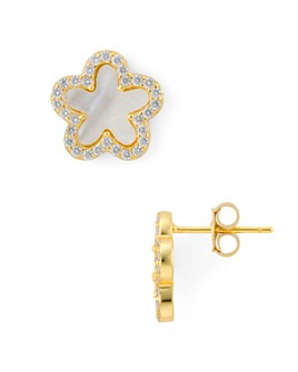 AQUA - Flower Stud Earrings in Gold-Plated Sterling Silver - 100% Exclusive