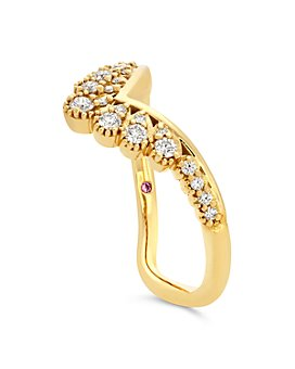Hayley Paige for Hearts on Fire - 18K Yellow Gold Behati Silhoutte Power Band with Diamonds & Pink Sapphire