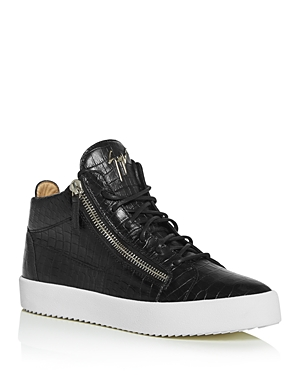 Giuseppe Zanotti Men\\\'s Croc-Embossed Leather Mid-Top Sneakers