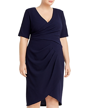 Adrianna Papell Plus Rio Knit Draped-Front Dress