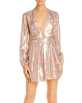 Ramy Brook - Amalia Metallic Snakeskin Plunging Wrap Dress