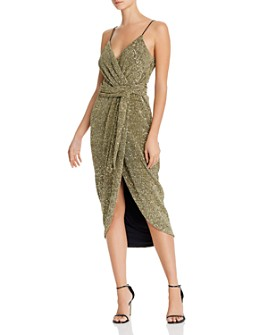 Saylor - Sequined Faux-Wrap Midi Dress