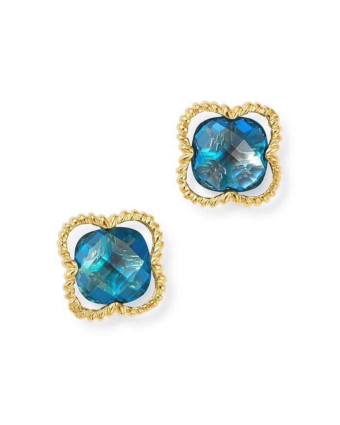 Bloomingdale's - London Blue Topaz Clover Stud Earrings in 14K Yellow Gold - 100% Exclusive