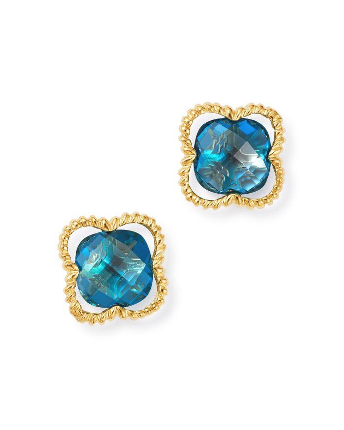 Bloomingdale's London Blue Topaz Clover Stud Earrings in 14K Yellow Gold - 100% Exclusive  | Bloomingdale's
