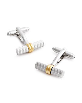 LINK UP - Ribbed Tube with Gold Band Cufflinks