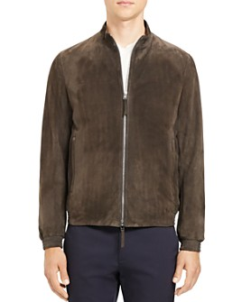 Theory - Regular Fit Suede Bomber Jacket