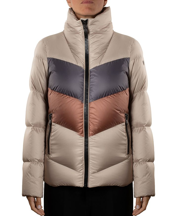 Post Card Color-blocked Down Coat In Taupe/gray/bronze