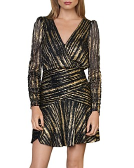 ML Monique Lhuillier - Long Sleeve Metallic Mini Dress