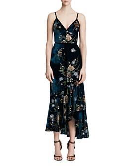 MARCHESA NOTTE - Ruffled & Embroidered Velvet-Detail Midi Dress