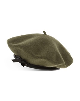 The Kooples - Leather-Trim Wool Beret