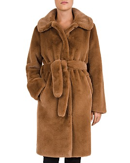 Gerard Darel - Prune Belted Faux-Fur Coat
