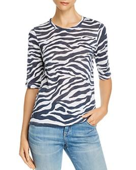 Goldie - Zebra Print Elbow-Sleeve Tee