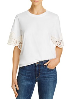 See by Chloé - Lace Trim Short-Sleeve Tee