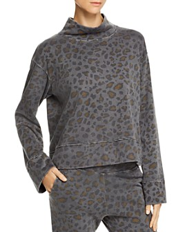 Sundry - Leopard Print Funnel-Neck Sweatshir