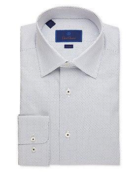 David Donahue - Small Dot Trim Fit Dress Shirt