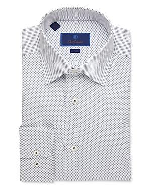 David Donahue Small Dot Trim Fit Dress Shirt-Men