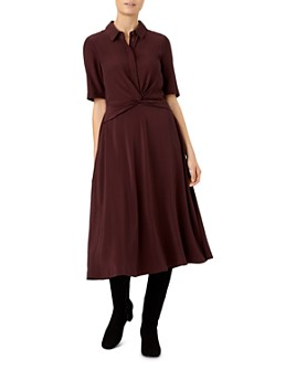 HOBBS LONDON - Maya Twist-Front Shirt Dress