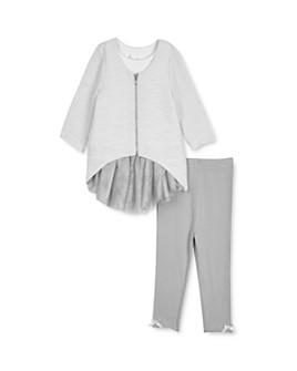 Pippa & Julie - Girls' Zip-Front Sweater, Tunic & Leggings Set - Baby