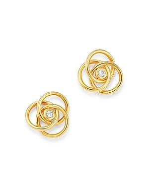 Diamond Knot Stud Earrings in 14K Yellow Gold