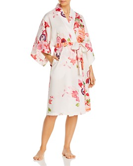 Natori - Floral-Print Satin Robe